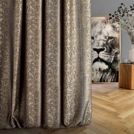 Black and gold made to measure curtains with snake print