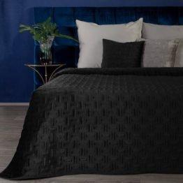 Black quilted velvet bedspread with geometric design