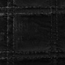 Black quilted velvet bedspread with square design
