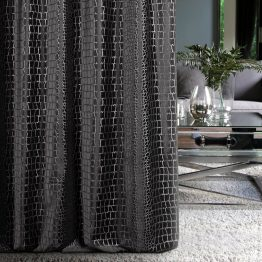 Black velvet made to measure curtains with snake print