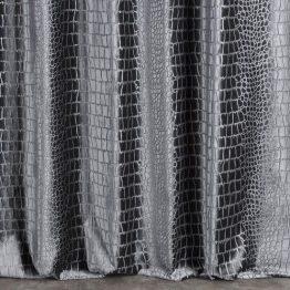 dark grey velvet curtains with snake print