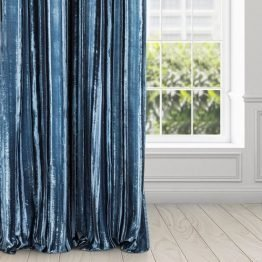 Glamour Navy velvet curtains with silver design