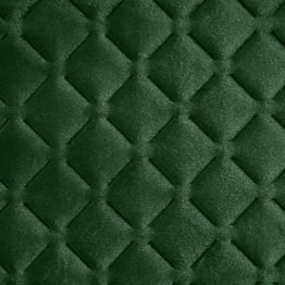 Green quilted velvet bedspread with diamond design