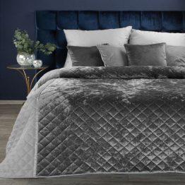 Luxury silver velvet bedspread 220x240cm