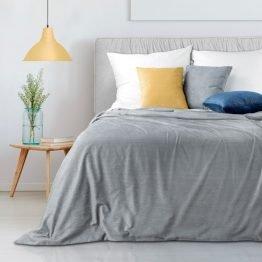 Silver Corduroy bedspread with fine silver print 220x240cm