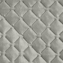 Silver quilted velvet bedspread with diamond design