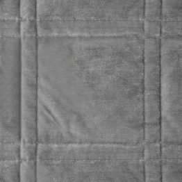 Silver quilted velvet bedspread with square design