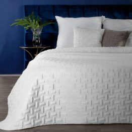 White quilted velvet bedspread with geometric design