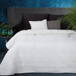 White quilted velvet bedspread with square design