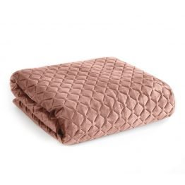 Blush pink quilted velvet bedspread with diamond design