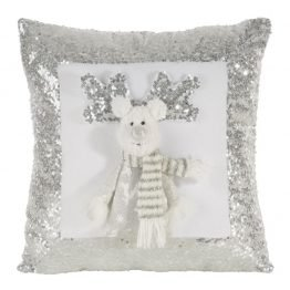 3D White and silver reindeer Christmas cushion cover with sequins