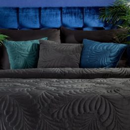 Turquoise velvet cushion covers with leaf design
