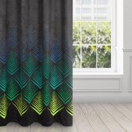 Black velvet eyelet curtains with blue and green geometrical design