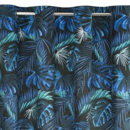 Black velvet eyelet curtains with blue leaves