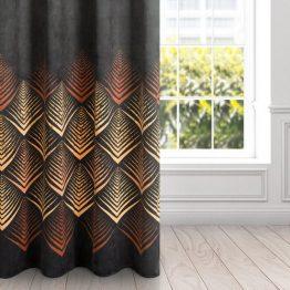 Black velvet eyelet curtains with brick red geometrical design