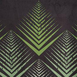 Black velvet eyelet curtains with green geometrical design