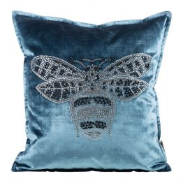 Blue velvet cushion covers with bee design . Blue velvet cushion cover 45x45cm. Velvet cushion covers UK, blue cushions UK.
