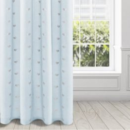 Blue voile eyelet curtains with silver hearts design