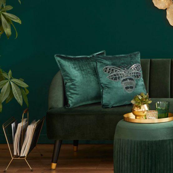 Dark green velvet cushion covers with bee design