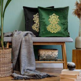 Dark green velvet cushion covers
