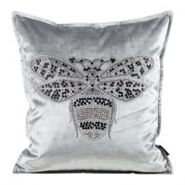 Silver velvet cushion covers with bee design