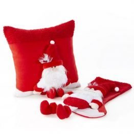 3D Grey and red Christmas Stocking with Santa