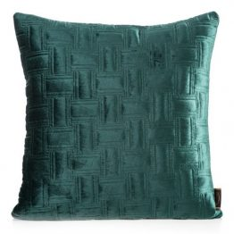 Dark green velvet quilted cushion covers (set of two)