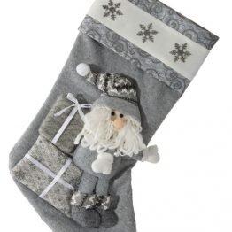 3D Grey Christmas Stocking with Santa