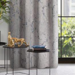 Beige velvet eyelet curtains with marble design