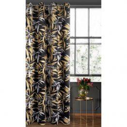 Black and beige velvet curtains