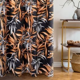 Black and brown velvet curtains