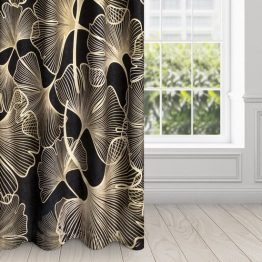 Black and gold eyelet velvet curtains with ginkgo design