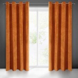 Brick red plain velvet eyelet curtains